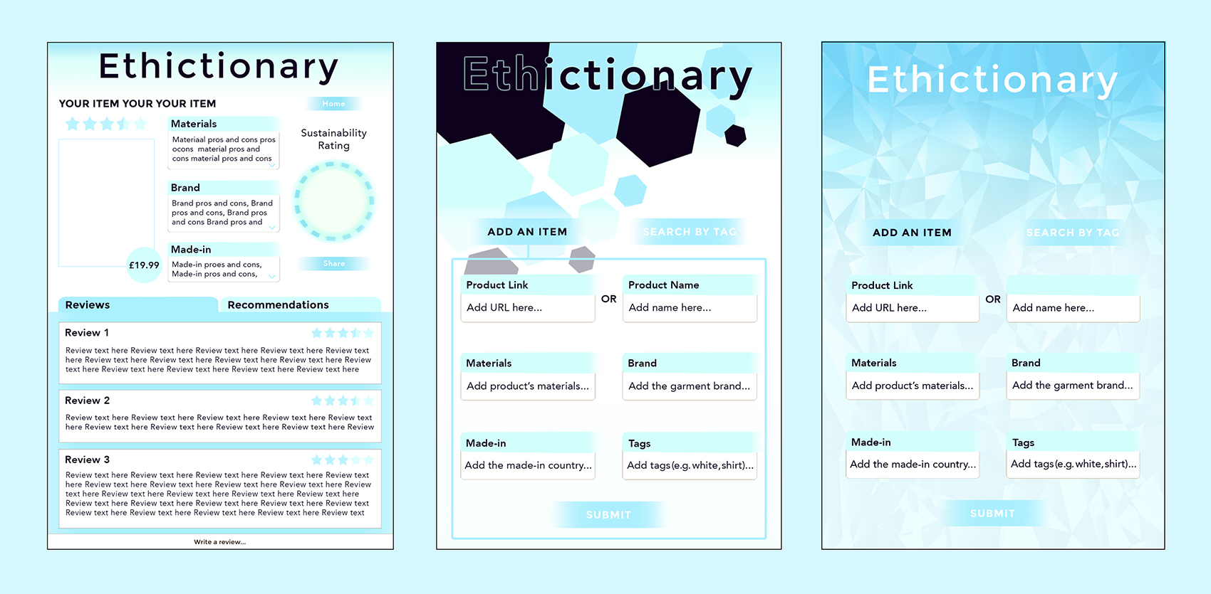 Ethictionary Early Iterations